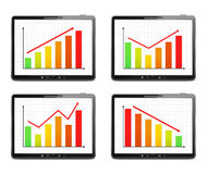 Bar Graphs. Different bar graphs on the screen of tablet computer Royalty Free Stock Images