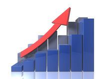Bar graphs - Ascending - front view Stock Images