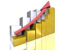 Bar graphs - Ascending - gold and silver. A set of business gold and silver bar graphs Stock Photos