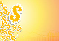 Bar graphs and dollar signs on orange and white backgro. Vector : Bar graphs and dollar signs on orange and white background Stock Image