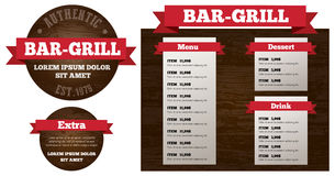Bar grill restaurant menu set. With label vector Text is outlined version CS10 eps Stock Image