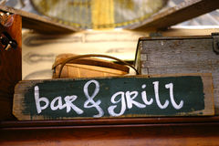 Bar and grill - sign Stock Photography