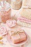 Bar of handmade rose soap Stock Photo