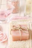 Bar of handmade rose soap Royalty Free Stock Photo