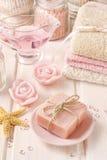 Bar of handmade rose soap Stock Photos