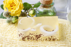 Bar of handmade soap and rose flower Stock Photo