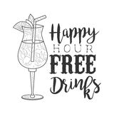 Bar Happy Hour Promotion Sign Design Template Hand Drawn Hipster Sketch With Decorated Cocktail Glass Stock Images