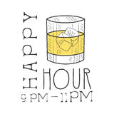 Bar Happy Hour Promotion Sign Design Template Hand Drawn Hipster Sketch With Glass With Whiskey And Ice Cubes Royalty Free Stock Image