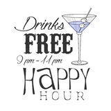 Bar Happy Hour Promotion Sign Design Template Hand Drawn Hipster Sketch With Martini Cocktail Glass Stock Photography