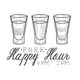 Bar Happy Hour Promotion Sign Design Template Hand Drawn Hipster Sketch With Three Shots Stock Image