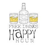 Bar Happy Hour Promotion Sign Design Template Hand Drawn Hipster Sketch With Whiskey Bottle And Two Glasses Stock Photography