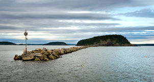 Bar Harbor breakwater wall Stock Image
