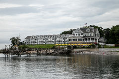 Bar Harbor Inn. BAR HARBOR - JULY 8: Bar Harbor Inn view from harbor pier in Maine, USA seen in Bar Harbor on July 8, 2010 stock photography