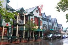 Bar Harbor Main Street Raining Royalty Free Stock Images
