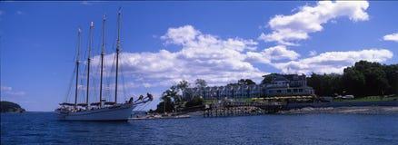 Bar Harbor, Maine. Sailing ship anchored on the coast of Bar Habor, Maine, USA Royalty Free Stock Photos