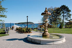 BAR HARBOR, MAINE: Walkway and view of the port. Stock Photography