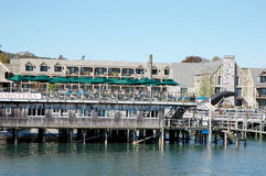 BAR HARBOR, MAINE: Walkway and view of the port. Royalty Free Stock Photography