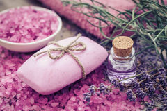 Bar of homemade soaps, sea salt, essential oil and dry lavender Royalty Free Stock Images