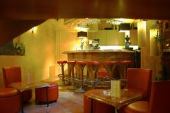 Bar in hotel. Little bar and chair in an hotel in France Stock Photo