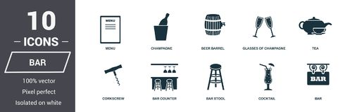 Bar icon set. Premium quality symbol collection. Bar icon set simple elements. Ready to use in web design, apps, software, print. vector illustration