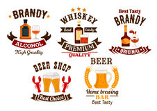 Bar icons set. Beer, whiskey, brandy alcohol icons. Beer bar sign. Whiskey, brandy, draught beer vector alcohol drinks icons set. Bar, brewery pub emblems royalty free illustration