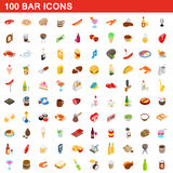 100 bar icons set, isometric 3d style. 100 bar icons set in isometric 3d style for any design vector illustration Royalty Free Stock Image