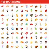 100 bar icons set, isometric 3d style. 100 bar icons set in isometric 3d style for any design illustration stock illustration