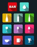 Bar icons set with long shadow Royalty Free Stock Image