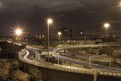 Bar-Ilan interjunction Night photo in HDR. Night scene in HDR Royalty Free Stock Photography