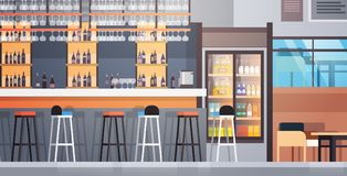 Bar Interior Cafe Counter With Bottles Of Alcohol And Glasses On Shelf. Flat Vector Illustraton Royalty Free Stock Photos