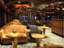 Bar interior on the cruise ship. Tables and chairs in the restorant on the cruise ship Royalty Free Stock Photography