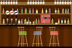 Bar interior in flat style design Stock Image