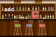 Bar interior in flat style design Stock Image