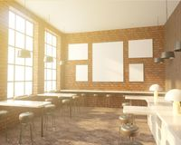 Bar interior with a row of tables near the windows, wooden floor. 3d rendering. Mock up. royalty free illustration