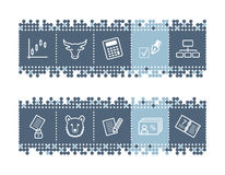 Bar with invest icons. Vector web icons. blue dots bar series Stock Images