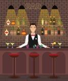 Bar, karczemna wewnętrzna płaska wektorowa ilustracja z butelkami, szkła, koktajle Mężczyzna barman przy barem z winem royalty ilustracja