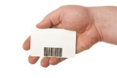 bar karty ręka trzymająca kodeksu fotografia stock