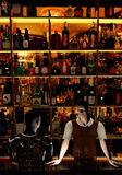 Bar keeper. At his job, offering drinks, talking with a customer, 3D illustration Royalty Free Stock Photography