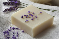Bar of lavender soap Royalty Free Stock Photos