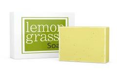 Bar of Lemongrass Soap with Soapbox. 3d Rendering Stock Image