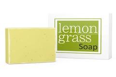 Bar of Lemongrass Soap with Soapbox. 3d Rendering Stock Photos