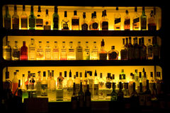 Bar liquor wine drinks decoration. Bar with nice lighting on shelves Stock Photo