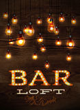 Bar loft glowing lights. Vintage poster bar loft glowing lights on wood background in retro styles Royalty Free Stock Photos