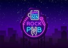 Bar Logo Neon Vetora da rocha Balance o sinal de néon da barra, conceito com um vidro, propaganda brilhante da noite, bandeira cl ilustração royalty free