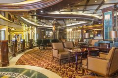 Bar lounge area on the cruise ship Royal Princess. Civitavecchia, Italy-20th September 2017: Lounge area on the cruise ship Royal Princess. The ship belongs to Royalty Free Stock Images
