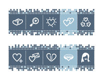 Bar with love icons Stock Image