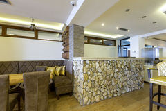 Bar made of rocks in hotel cafe Royalty Free Stock Photos