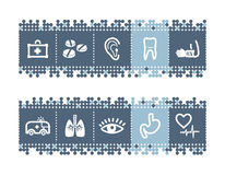 Bar with medicine icons. Vector web icons. blue dots bar series