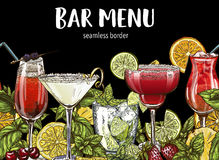 Bar menu, seamless cocktails border Stock Photo