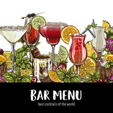 Bar menu, seamless cocktails border. Vector hand-drawn illustration, color sketch Royalty Free Stock Image